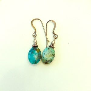 Jewelry - 3 for $8 / Turquoise + pewter single drop earrings